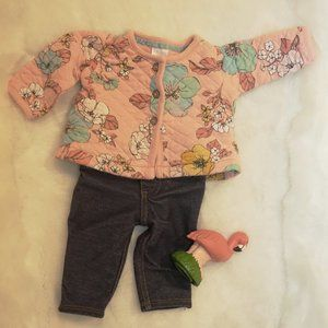 Carter's Quilted Floral Jacket and Jean Newborn NB